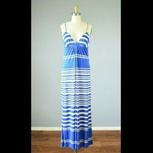 Julie Brown Silk Blue White Striped Maxi Dress